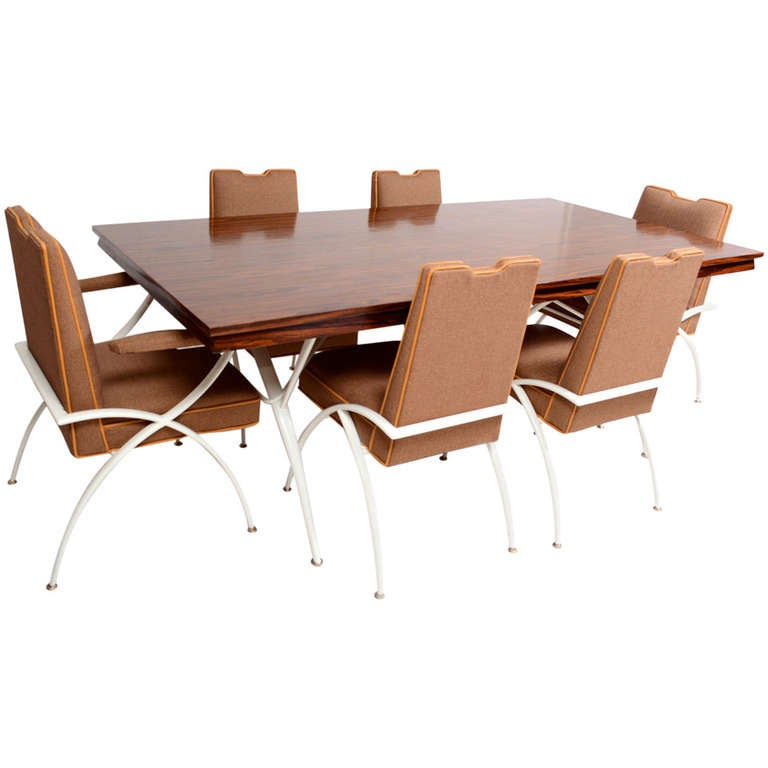 mexican modernist mid century modern dining rosewood table with chairs