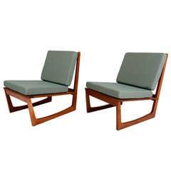 Pair of Danish Modern Teak Lounge Chairs by Jacob Kjaer