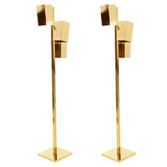 Pair of Brass Koch & Lowy Floor Lamps, Mid Century