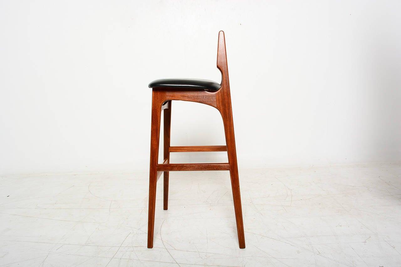 Mid Century Danish Modern Teak Bar Stool Erik Buck Style