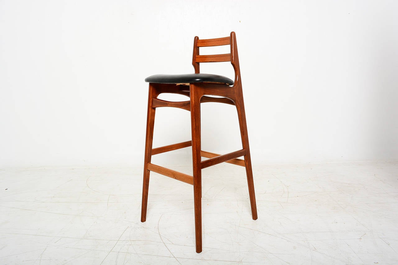 Mid century danish modern teak bar stool erik buck style at 1stdibs