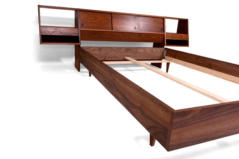 Full size platform bed with floating nightstands walnut for Floating platform bed with storage