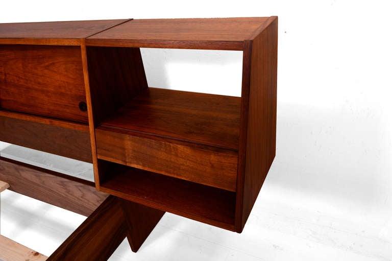 full size platform bed with floating nightstands walnut wood at 1stdibs. Black Bedroom Furniture Sets. Home Design Ideas