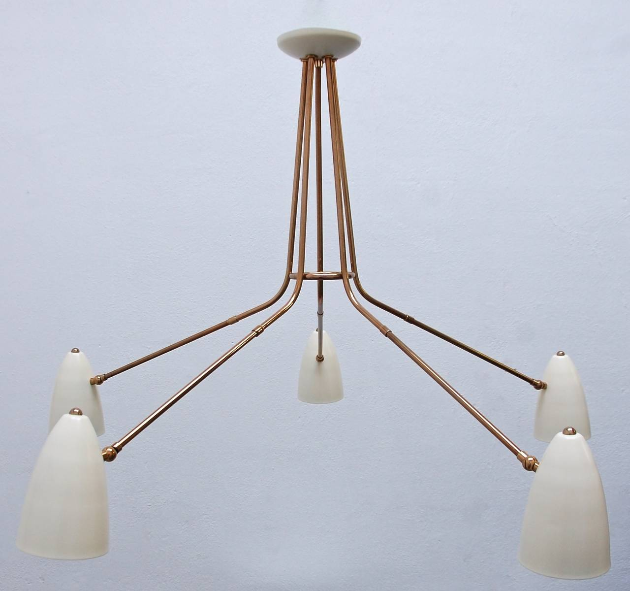 Five Arm Flush Mount Chandelier from Italy at 1stdibs