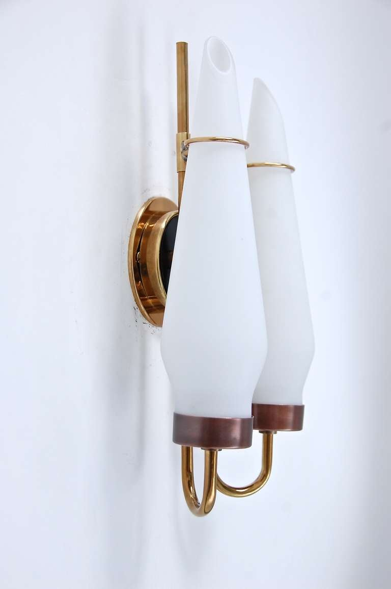 Wall Sconces Glass Shades : Double Shade Glass Sconces at 1stdibs