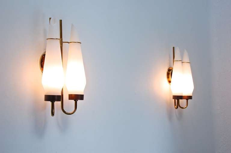 Double Wall Sconce With Shades : Double Shade Glass Sconces at 1stdibs