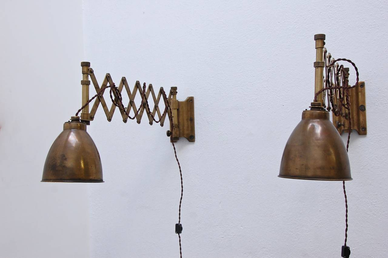Industrial Scissor Wall Lights : 1930s Industrial Scissor Sconces at 1stdibs