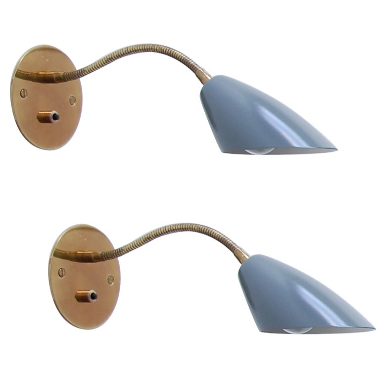 Italian gooseneck sconces at 1stdibs - Gooseneck wall sconce ...