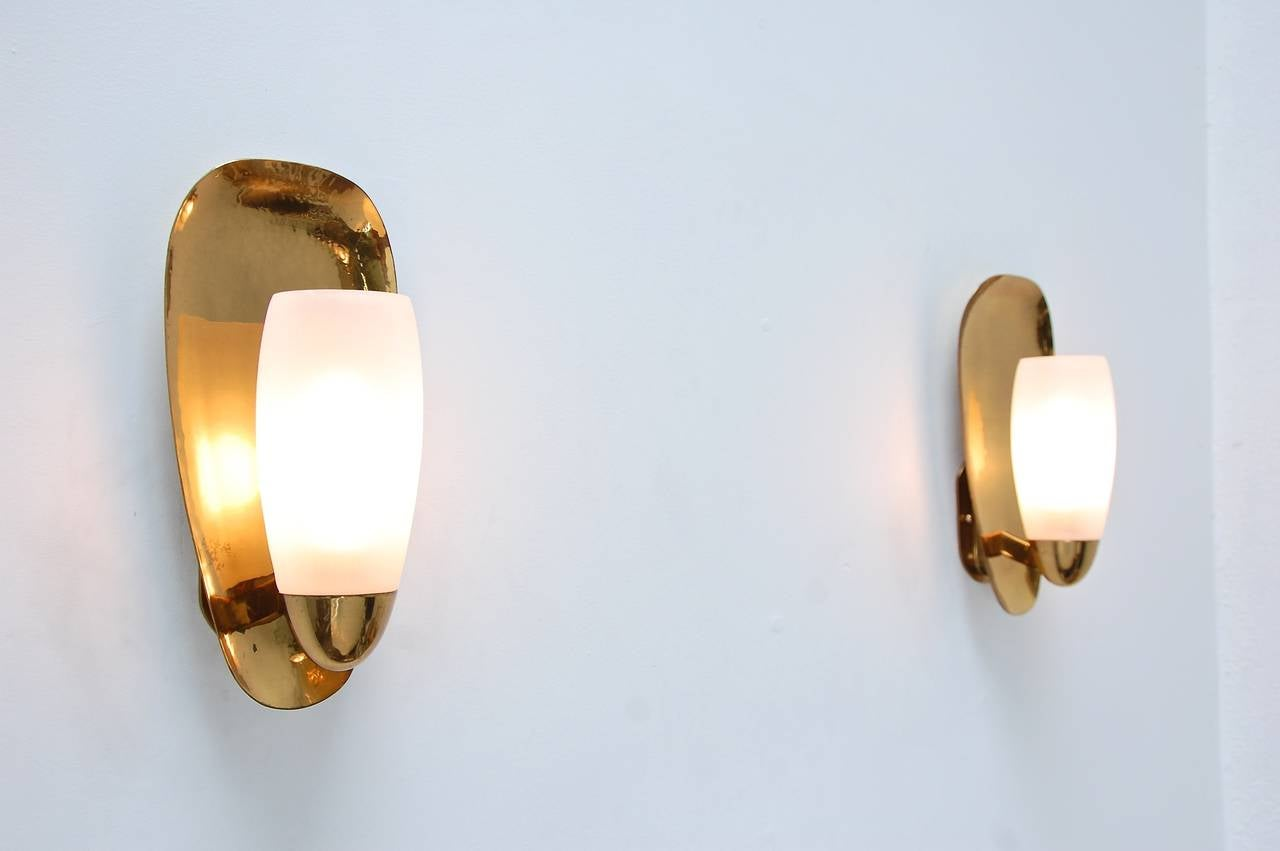 Hand-Hammered Brass Sconces at 1stdibs