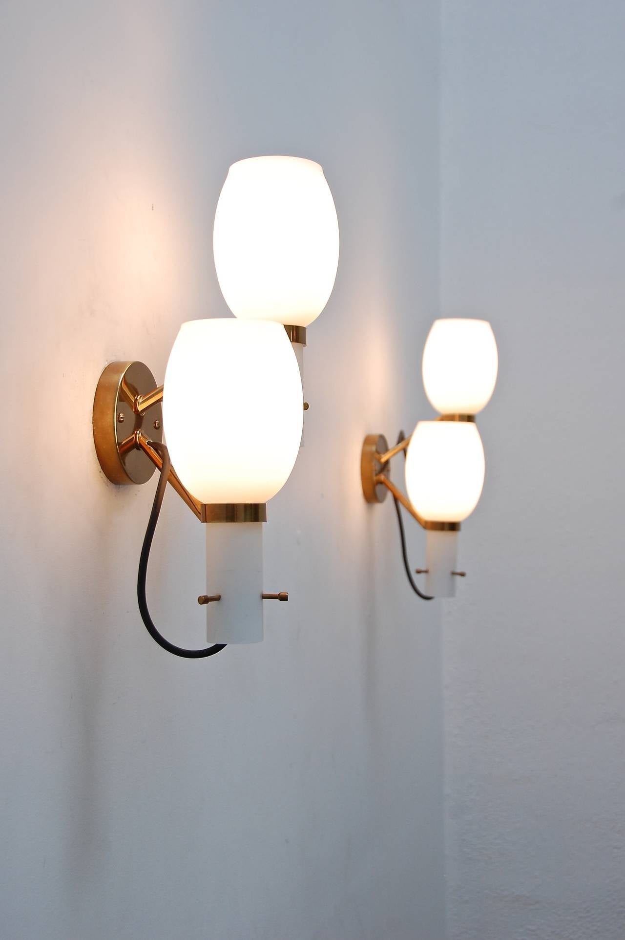 Lacquered Wall Sconces by Stilnovo For Sale