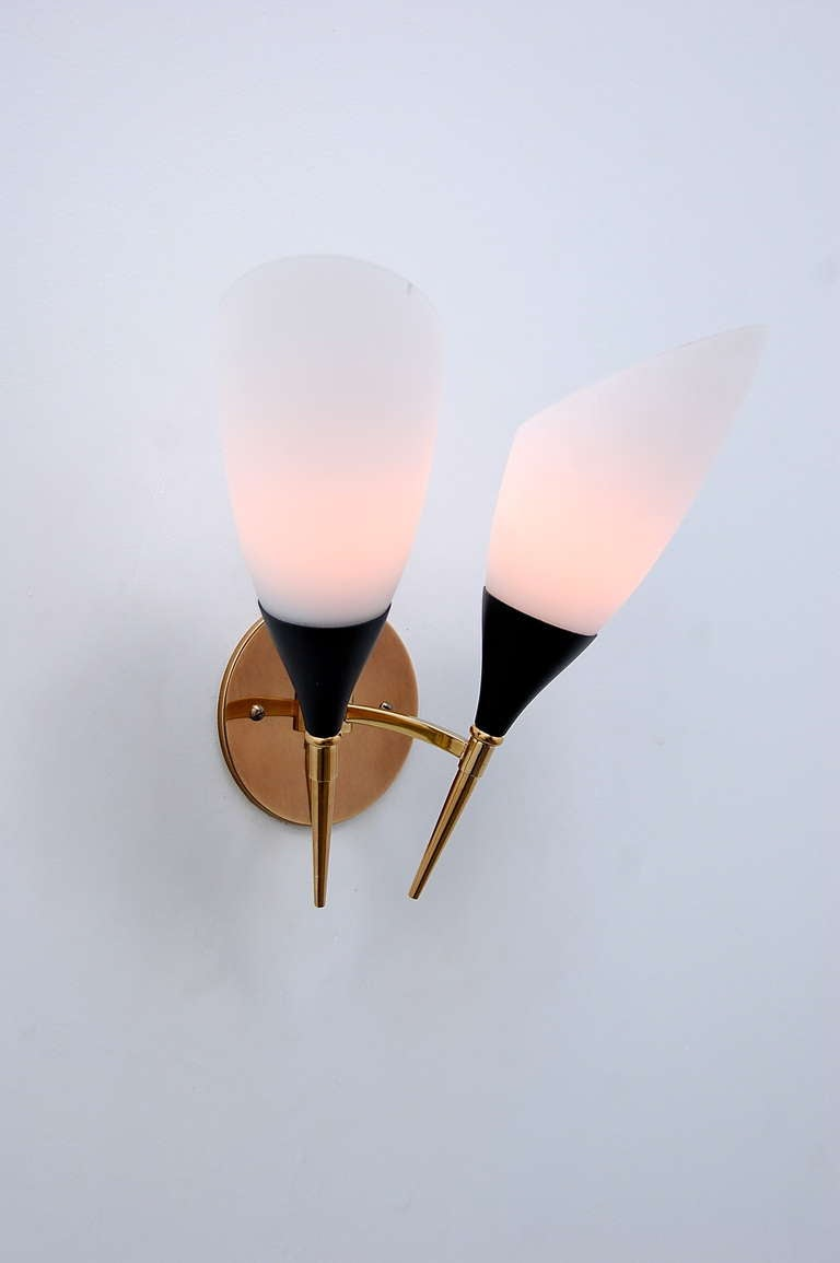 Mid Century Chrome Wall Sconces : (3) Italian Mid-Century Sconces For Sale at 1stdibs