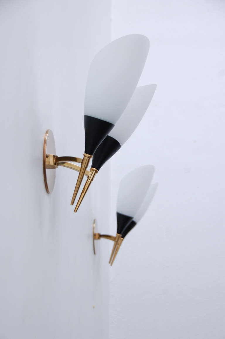 (3) Italian Mid-Century Sconces For Sale at 1stdibs