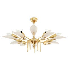 Italian Brass and Lucite Chandelier