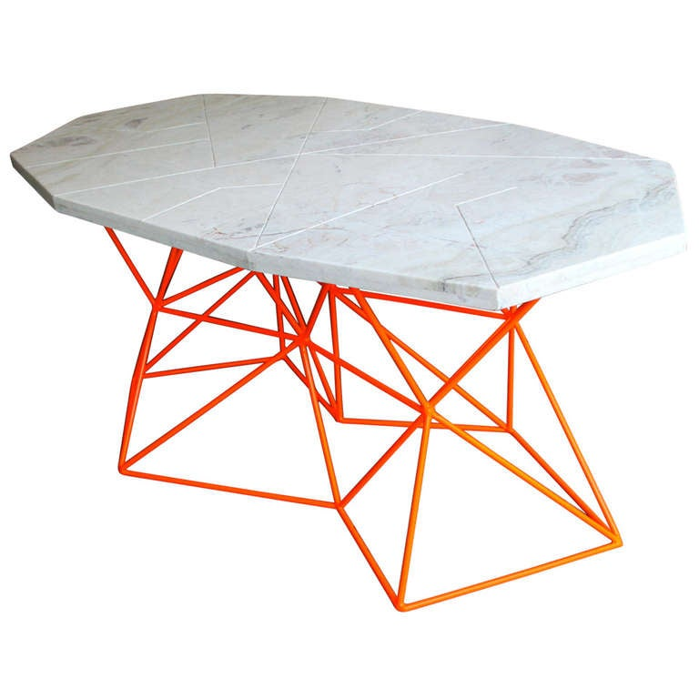 futuristic asymmetrical marble dining table or desk by