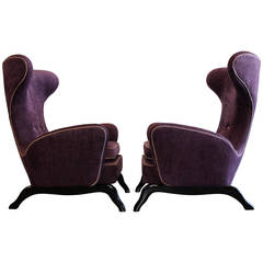 Extraordinary Pair of 1950s Italian Sculptural Wingback Lounge Chairs