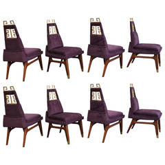 Set of Eight Greek Key Chairs by Arturo Pani, Mexico City, circa 1950