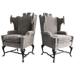 Documented Pair of Mohair Wingback Chairs by Arturo Pani, Mexico City, 1950s