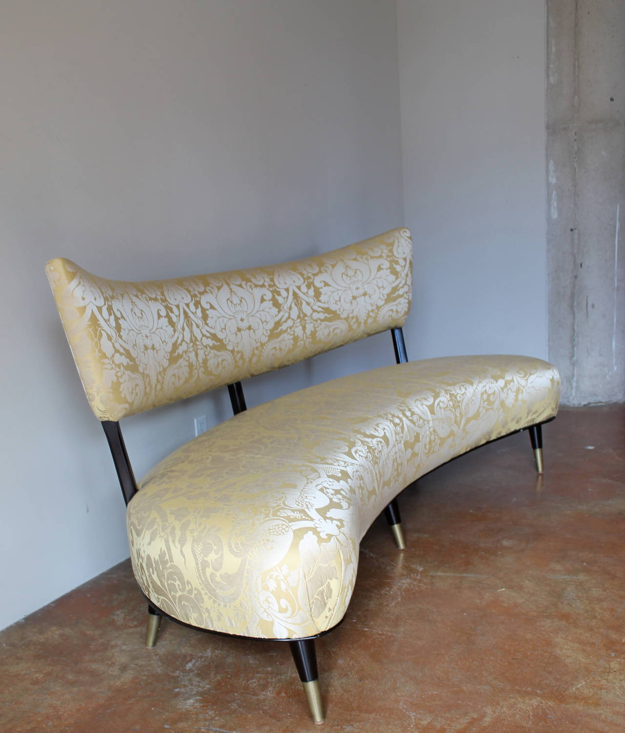 Curved Floating Sofa: Beautiful Large Scale 1950s Italian Floating Curved Sofa