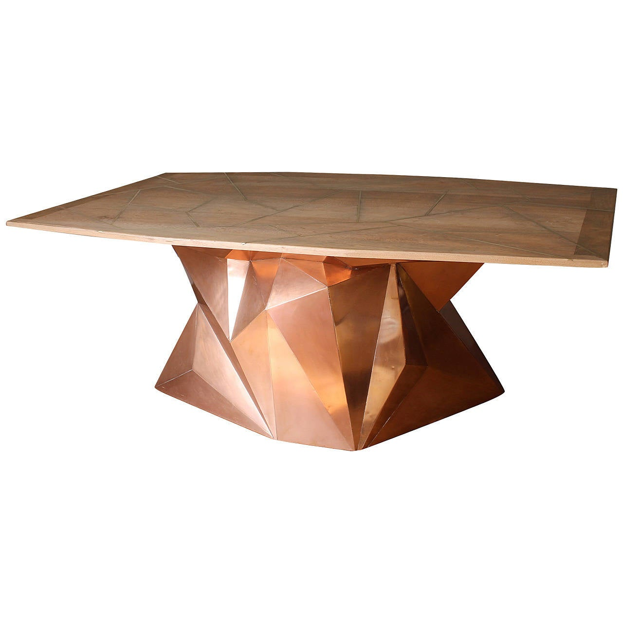 "Faceted ""Nomada"" Cooper Dining Table Or Desk By Alberto"