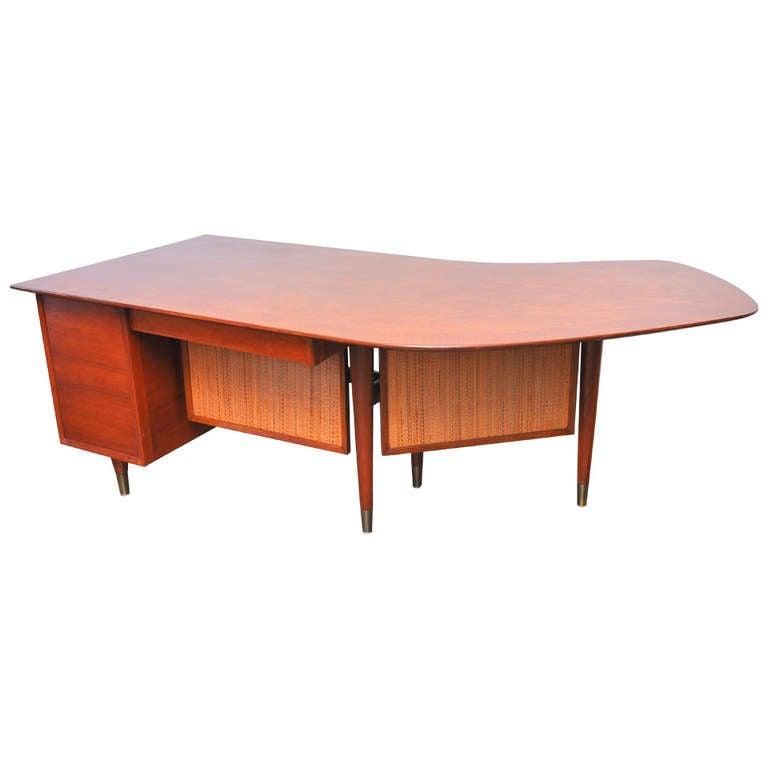 Boomerang Walnut And Cane Executive Desk Circa 1950s At