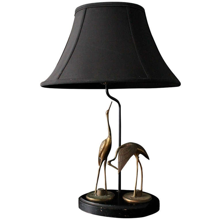 French Art Deco Table Lamp With Bronze Cranes At 1stdibs