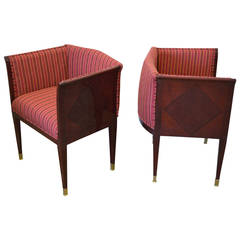 Pair of Art Deco Inlaid Paneled Armchairs in the Style of Eliel Saarinen