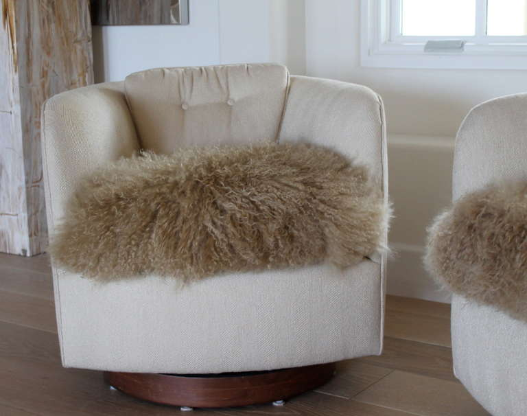 Pair Of Mongolian Fur Chairs By Milo Baughman For Thayer