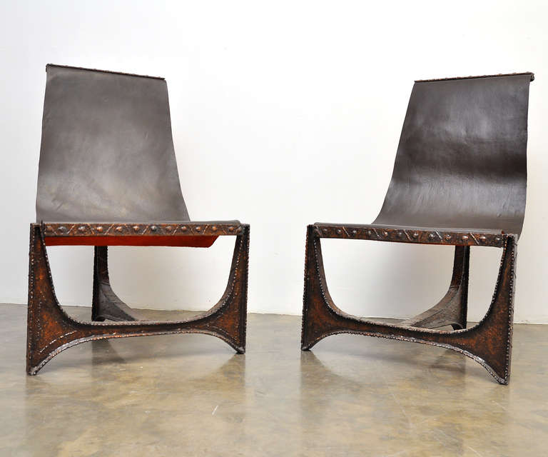 Rare Pair of Welded Steel Chairs in the style of Paul