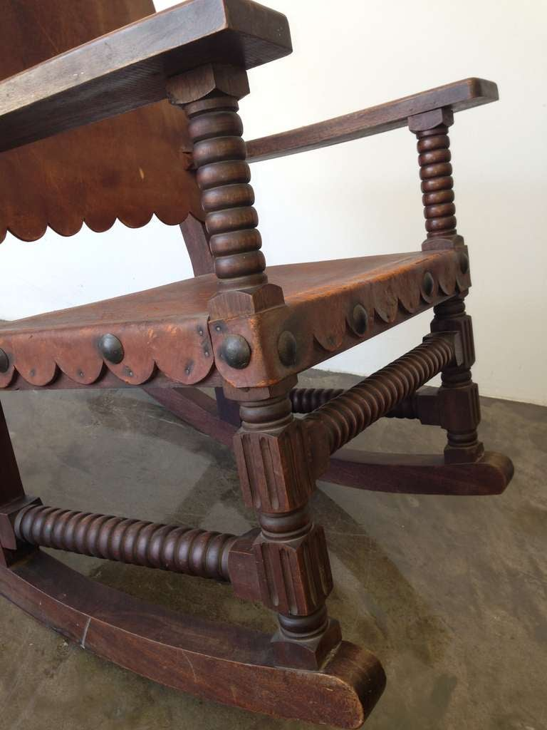 Mexican Spanish Style Rocking Chair Venadillo Wood And