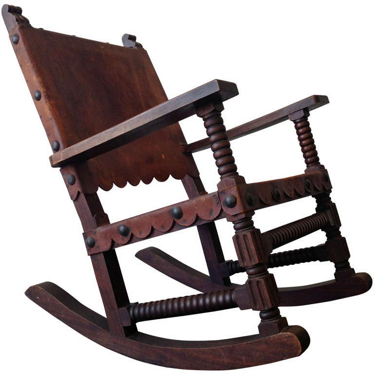 Mexican spanish style rocking chair venadillo wood and for Furniture in spanish