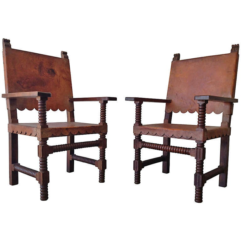 Mexican Spanish Style Venadillo Wood And Leather Chairs C