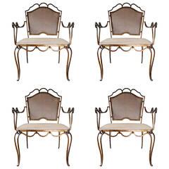 Rare Set of Four Arturo Pani Gilded Iron Armchairs, Mexico City, 1940s
