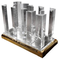 Lucite and Brass Cityscape Dining Table by Jeffrey Bigelow, USA 1980's.