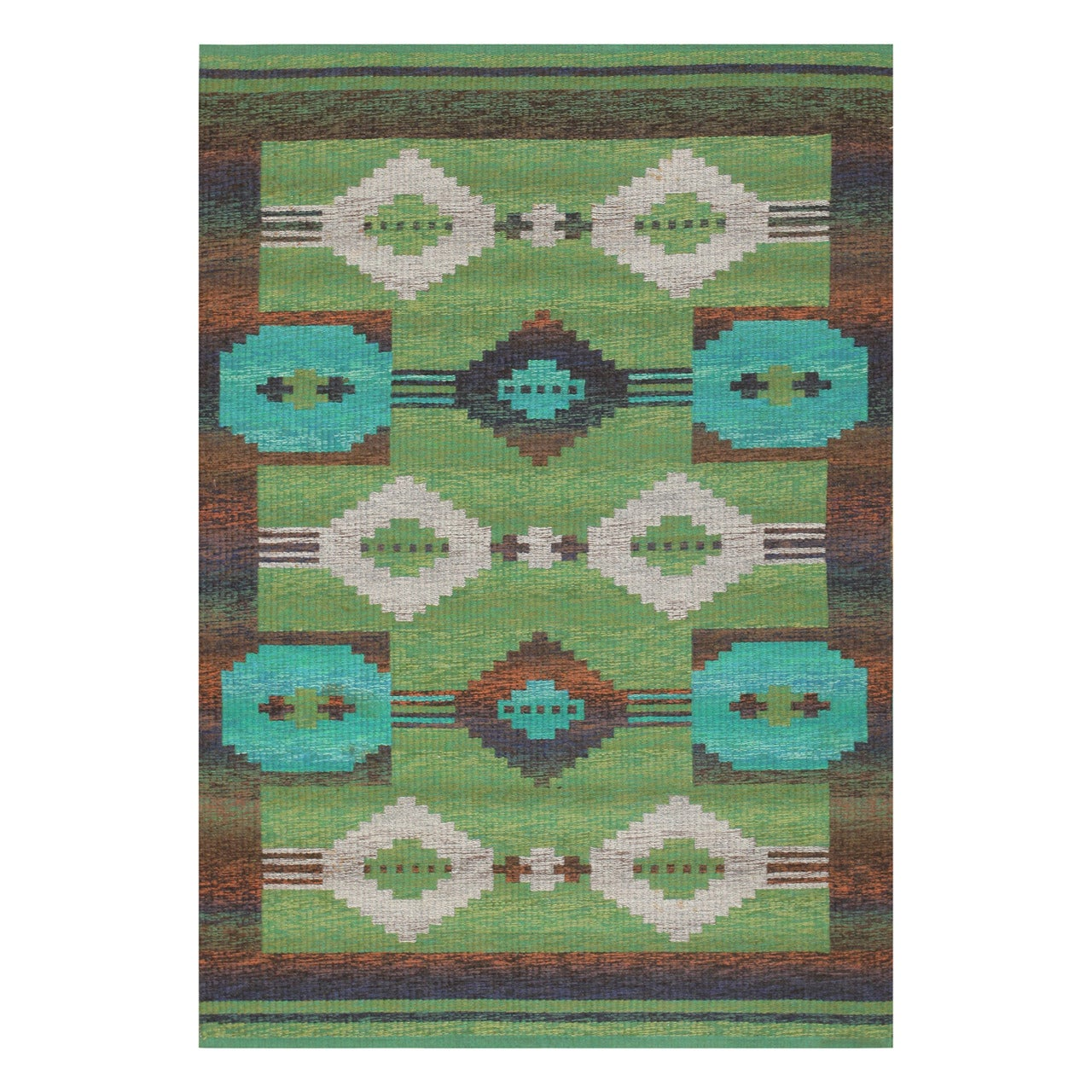 Double Sided Vintage Scandinavian Rug. Size: 4 ft 6 in x 6 ft 6 in