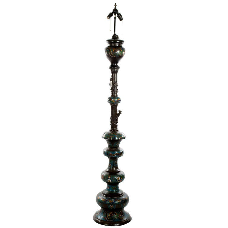 Large Qing Dynasty Champleve Bronze Floor Lamp at 1stdibs