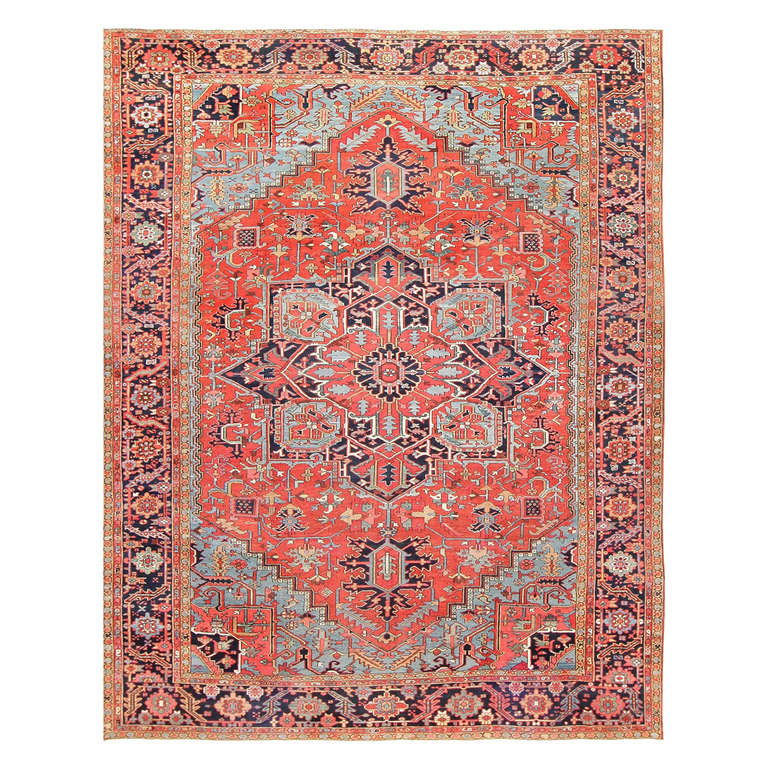 Antique Large Rug: Large Antique Persian Heriz Serapi Rug At 1stdibs