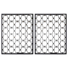 Pair of Wrought Iron and Brass Screens by Jean Royère, France, 1950s