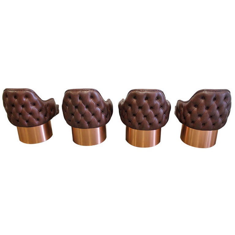Set Of Four Leather Exterior Back Tufted Tall Barrel