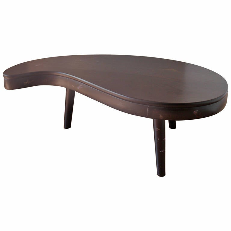 1950s Black Lacquer Asian Style Kidney Shaped Coffee Table At 1stdibs