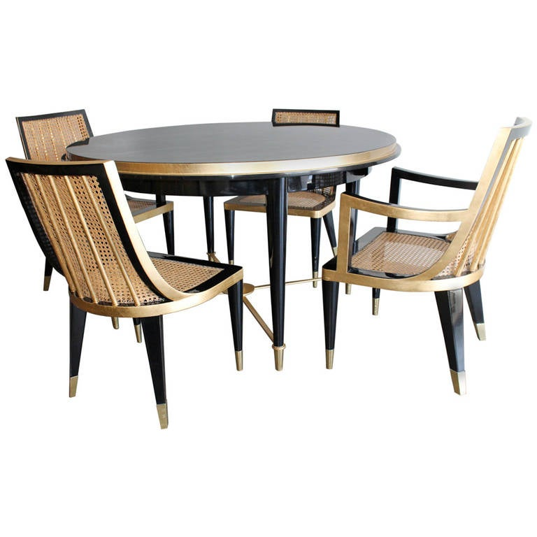 Gold Leaf And Black Lacquer Dining Set By Arturo Pani