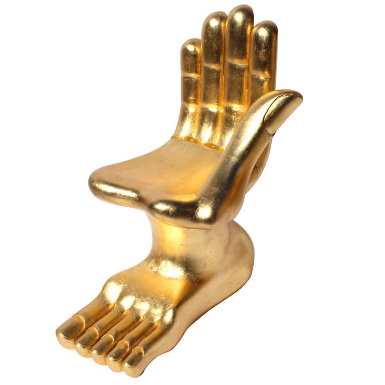 iconic pedro friedeberg surrealist gilt hand foot chair