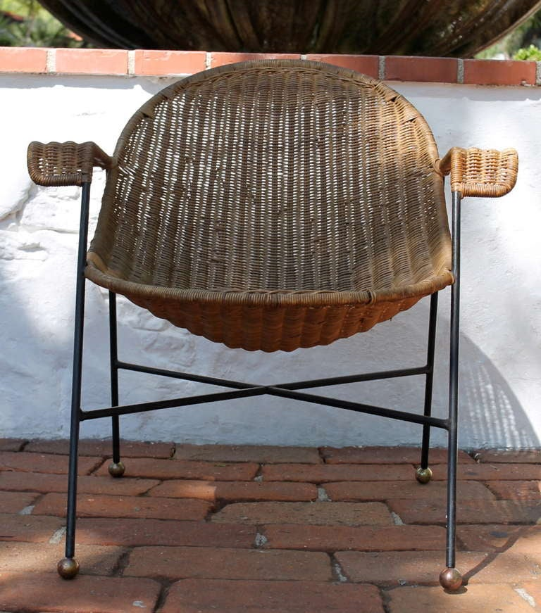 Amazing Wicker and Iron Chair and Table Set Mexico circa 1950s at 1stdibs