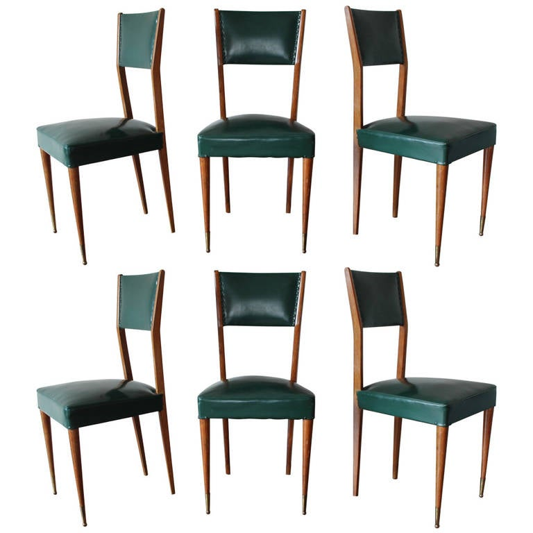 Set of six 1950s mahogany italian dining chairs at 1stdibs for Mahogany dining room furniture