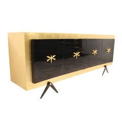 Gold Leaf and Black Lacquer Custom Credenza by Arturo Pani, Mexico, 1950