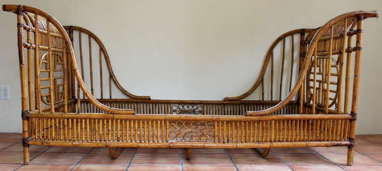 1960 S Rattan Twin Sleigh Bed Daybed At 1stdibs