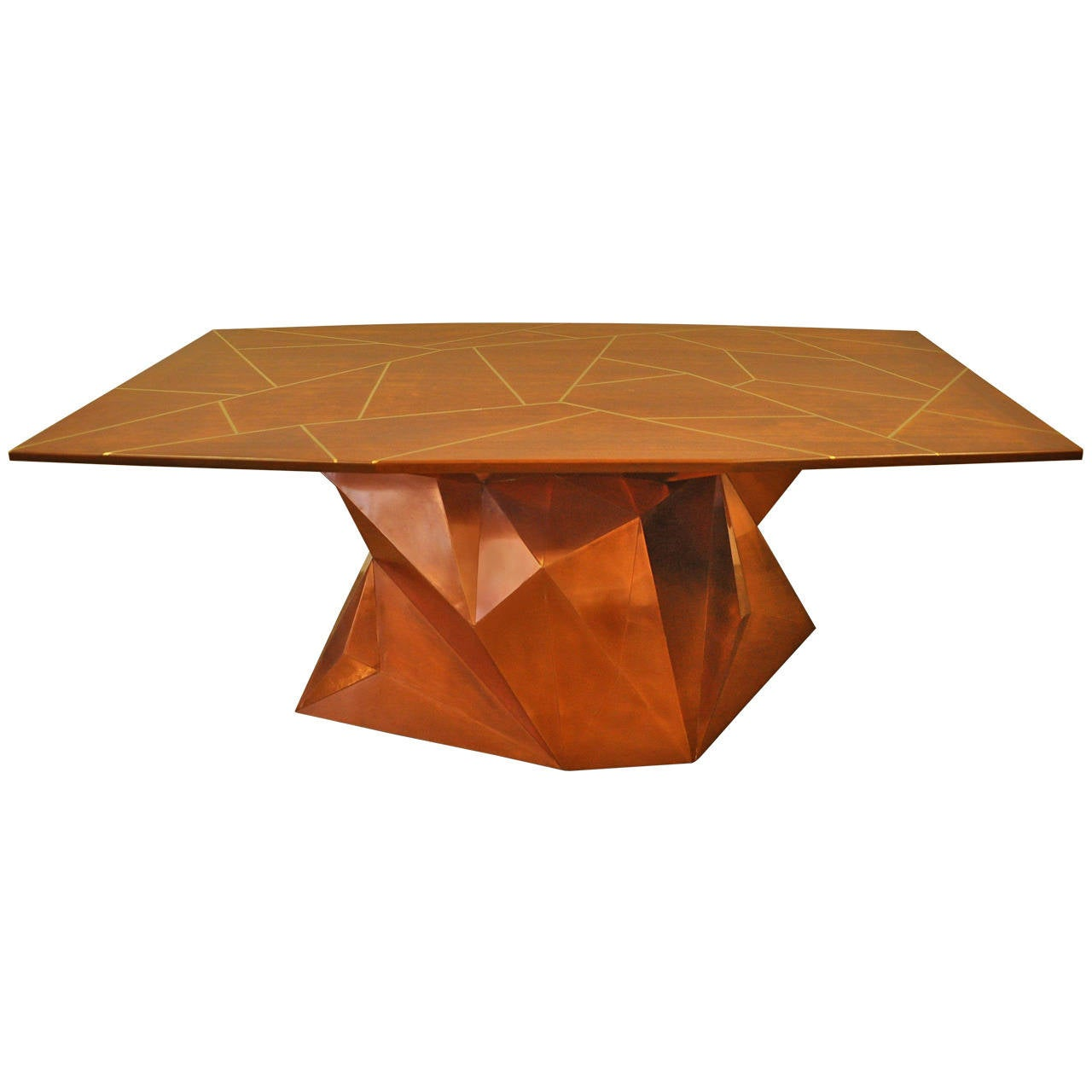 Faceted Copper And Reclaimed Wood Dining Table By Alberto