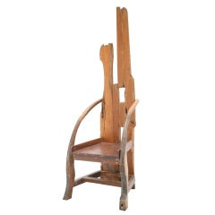 French Wooden Sculpture with Chair Shape from the 1940s