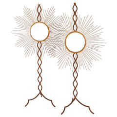 Pair of Mirrors in Sun Shape Made of Brass