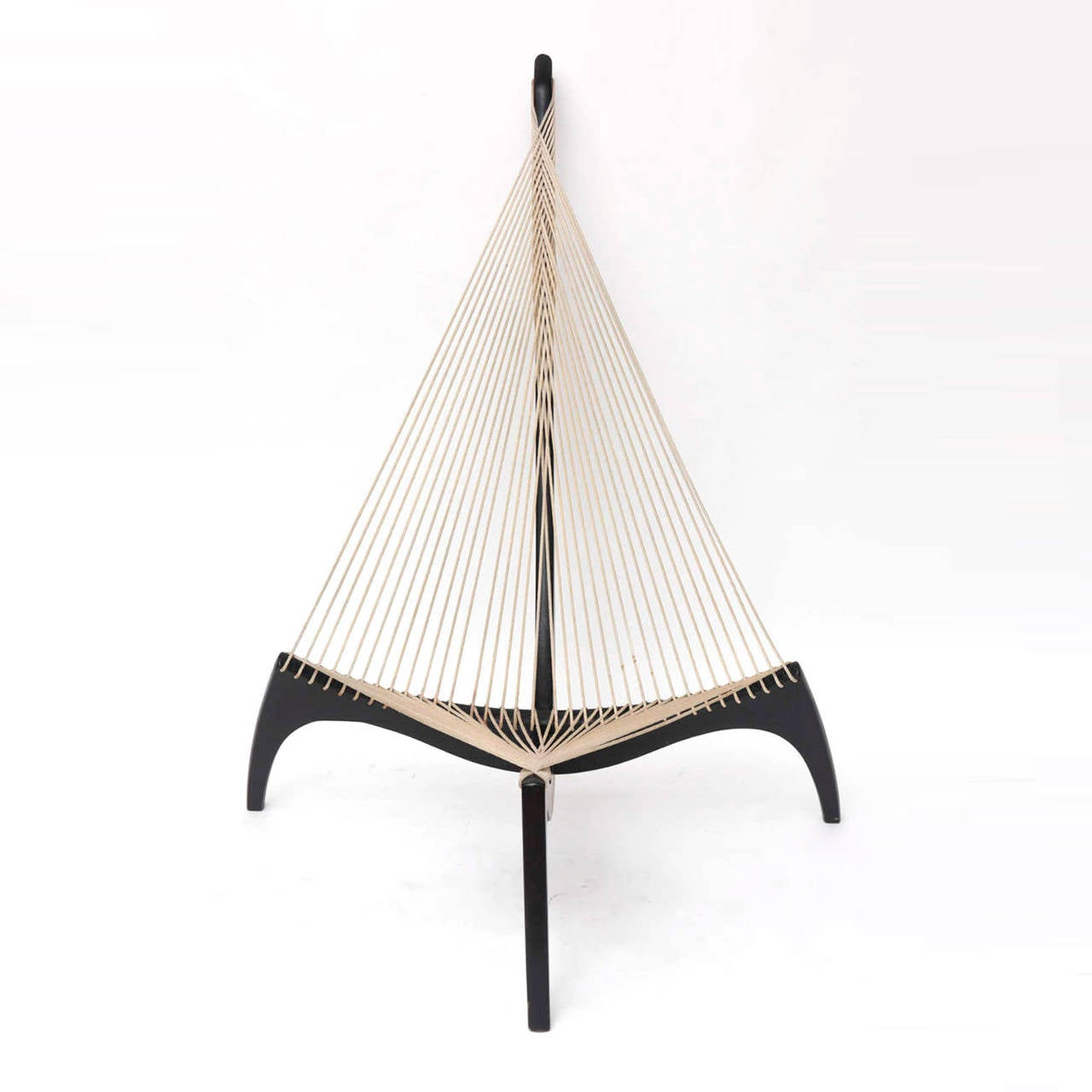 """Harp"" chair designed by Jørgen Høvelskov with structure made of solid wood lacquered in black with seat and back rope."
