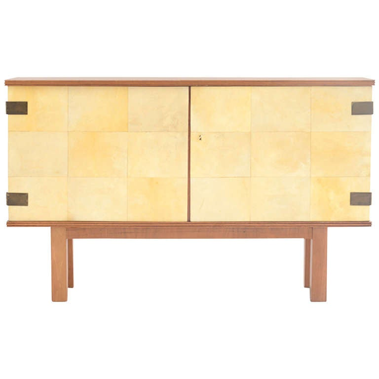 Sideboard with front in parchment leather at 1stdibs for Sideboard glasfront